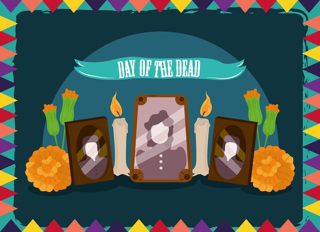 死者の日、写真フレームキャンドルと花、メキシコのお祝いのベクトルイラスト