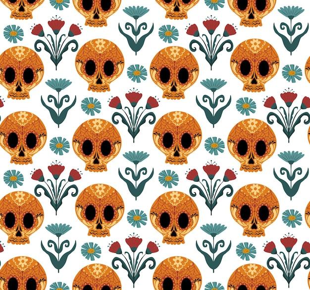 死んだシームレスパターンの日。 dia de losmuertos手描きの繰り返しテクスチャ。砂糖の頭蓋骨の背景の壁紙や紙とメキシコの休日のハロウィーン。ベクトルイラスト。