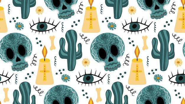 죽은 완벽 한 패턴의 날입니다. dia de los muertos 손 그리기 반복 질감. 설탕 두개골 배경 벽지 또는 종이와 멕시코 휴일 할로윈. 벡터 일러스트 레이 션.
