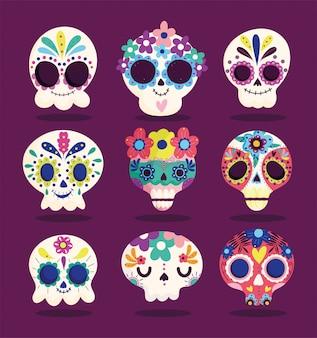 죽음의 날, 세트 catrinas 꽃 장식 전통 축하 멕시코