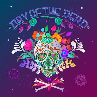 Day of the dead. skull background with bones