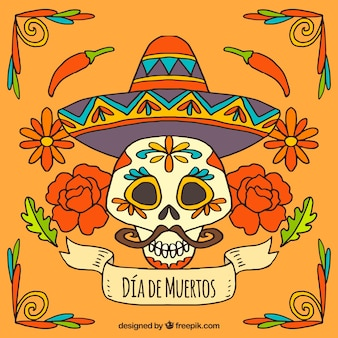 Day of the dead skull background with mexican hat