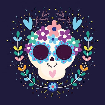 День мертвых, черепа сердца цветы расцветают традиционный мексиканский праздник