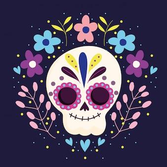 День мертвых, сахарный скелет, цветы, символ традиционного мексиканского праздника