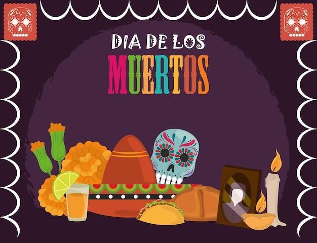 死者の日、シュガースカルハットテキーラフラワーカード、メキシコのお祝いのベクトル図