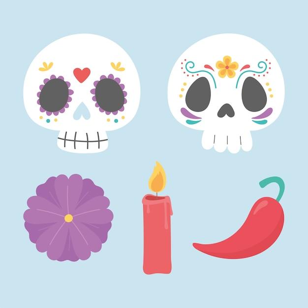 死者の日、砂糖の頭蓋骨のキャンドルの花と唐辛子、メキシコのお祝い。