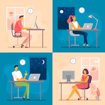 昼も夜も仕事。残業、残業、コンピューターワーカーの夜。ヒバリとフクロウワークフローフラットベクトル図