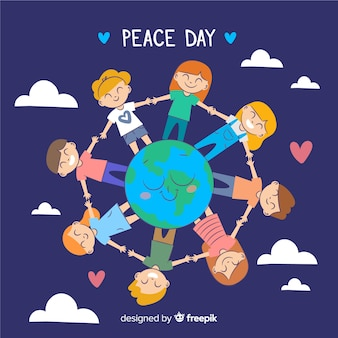 Day of peace composition with children holding hands