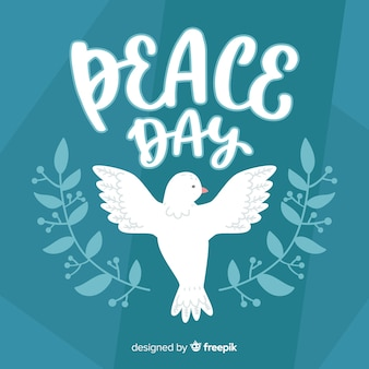 Day of peace composition with hand drawn white dove