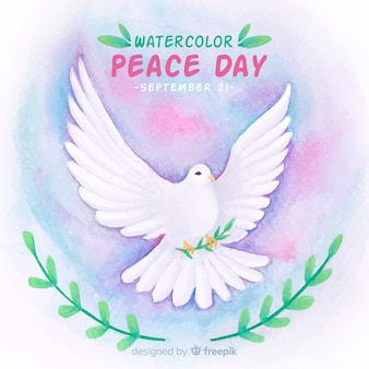 Day of peace composition with watercolor white dove