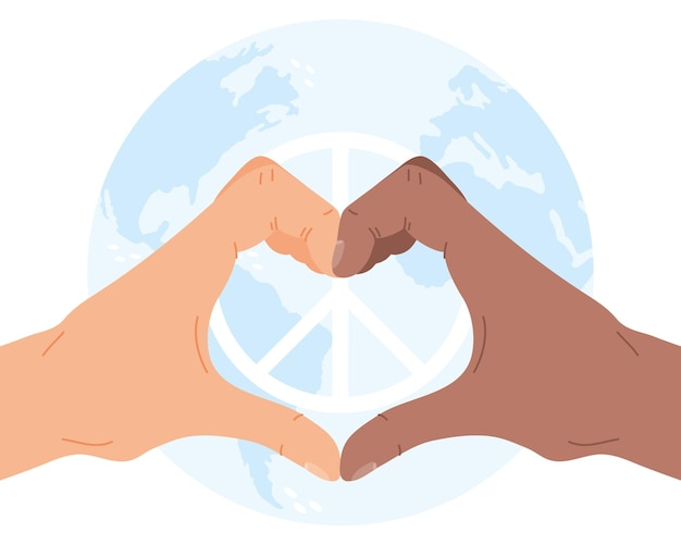 Day of peace interracial hands