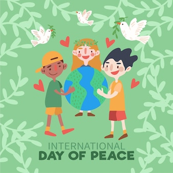 Day of peace with with people hugging the earth