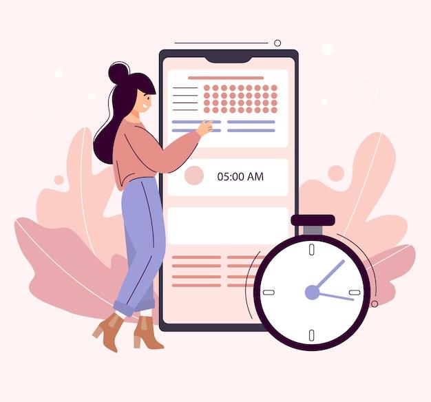 日計画の概念。画面にトラッカーとやることリストが表示された大型スマートフォンの横に立っている若い女性。女の子はプランナーアプリでメモを取ります。時間オーガナイザー