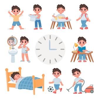 만화 학교 꼬마 소년의 하루 일상 활동입니다. 귀여운 소년이 자고, 먹고, 놀고, 공부하고 청소하는 일일 일정. 건강 라이프 스타일 벡터 집합입니다. 일상 소년의 일러스트, 매일 아침 놀이 공부