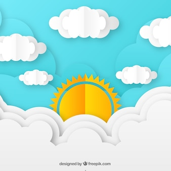 Day sky background with clouds in paper texture
