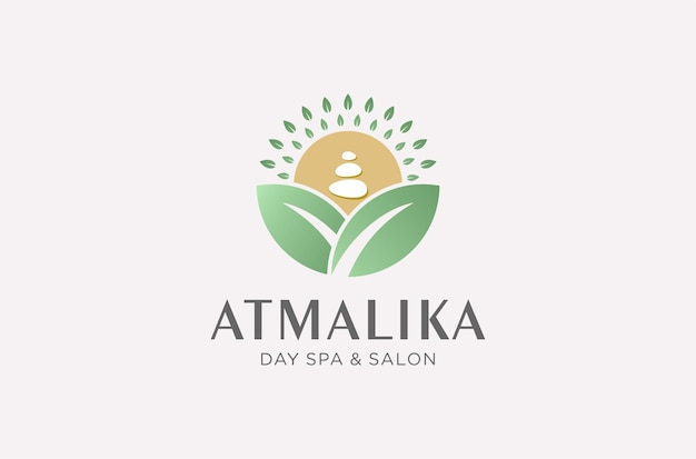 Day spa and salon logo design in natural style.