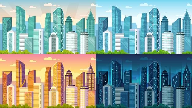 Дневной городской пейзаж. городские здания утром, днем, закатом и ночью вид на город мультфильм векторные иллюстрации фона. связка городских пейзажей на рассвете или вечером с экстерьером мегаполиса.