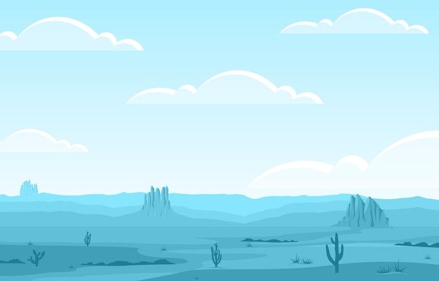 Day in vast western american desert with cactus horizon landscape illustration
