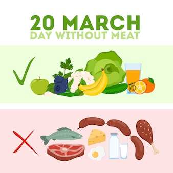 Day without meat. meatout for healthy eating and balance.