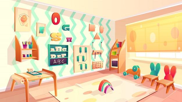Вектор монтессори комната, начальная школа фон с мебелью. детский сад для младенцев, dayca