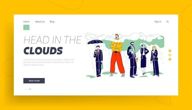 Daydreaming, creative imagination and positivity landing page template