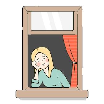 Daydreaming woman flat design.