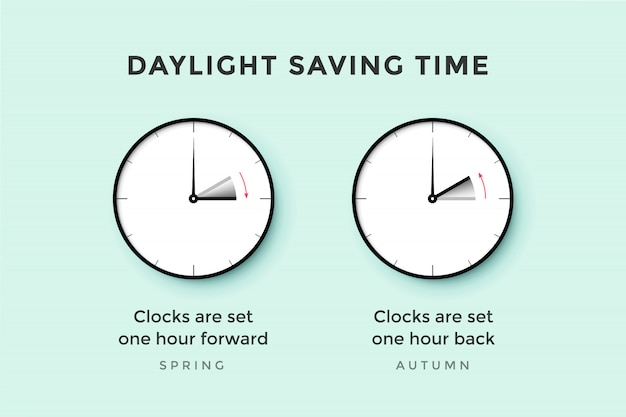 Daylight saving time. set of clock time for spring forward, autumn back, summer time. banner, poster for daylight saving time.  illustration