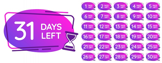 Days left badges. day numbers countdown clock, hourglass counter reminder and sand clocks times badge  illustration set