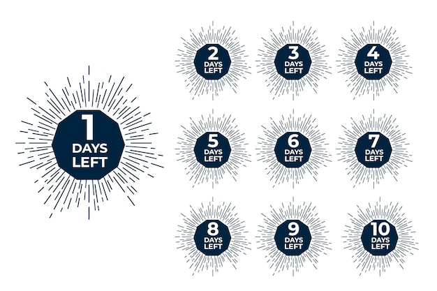 Days left badges. sale offer shopping day countdown.