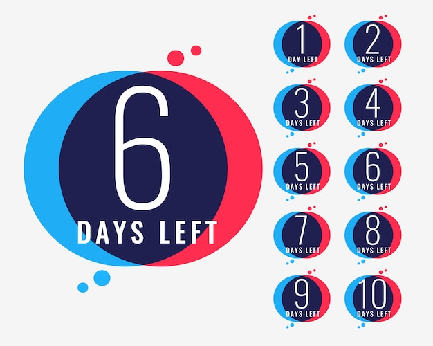 Days left countdown number banner