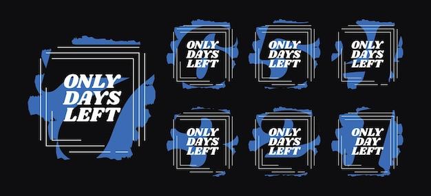 Days left countdown set. design elements for sale or promotion vector illustration