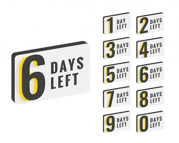 カウントダウン時間バナーのデザインの残り日数