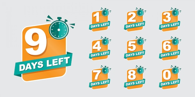 Days left. counter down button for sale or deal. offer countdown