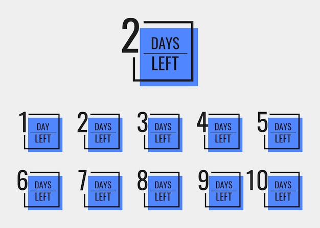 Days left to go from 1 to 10. geometric banners design template for your needs.