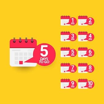 Days left template. design for bussines promotion, banner or print.