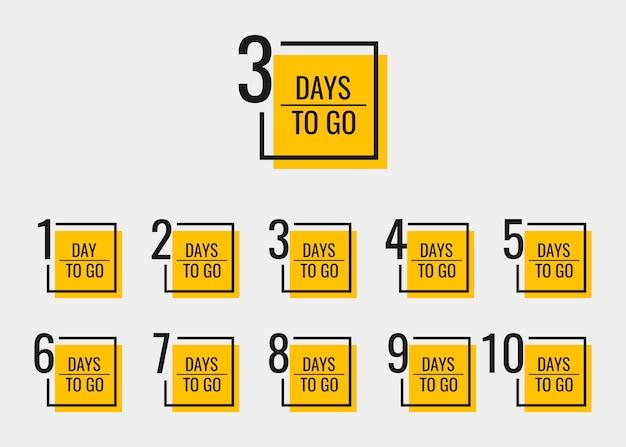 残りの日数は1〜10日です。幾何学的なバナーは、ニーズに合わせてテンプレートをデザインします。