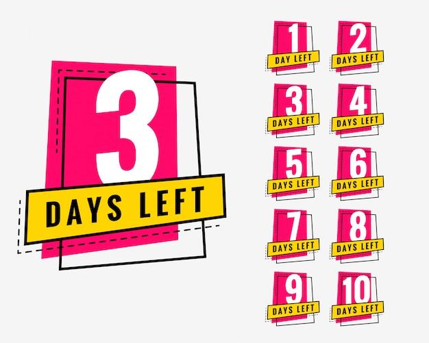 マーケティングとプロモーションのための流行のバナーを残した日数