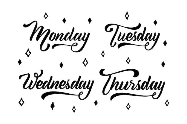 Коллекция надписей дней недели Бесплатные векторы
