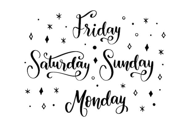 Коллекция надписей дней недели
