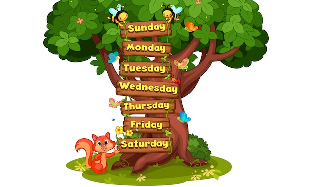 Days of the week cartoon illustration
