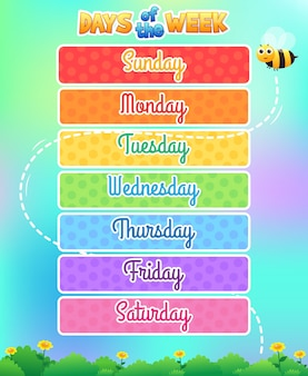 Days of the week illustration, kids learning template