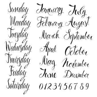 Giorni della settimana, mesi e numeri
