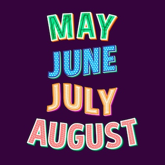 Days of the week, months and seasons lettering collection