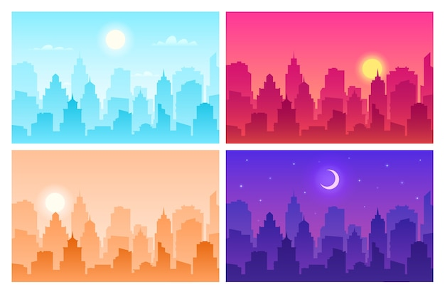 Daytime cityscape. panoramic urban landscape in different time. skyscrapers, building silhouettes in day, morning and night  view scape modern skyline set