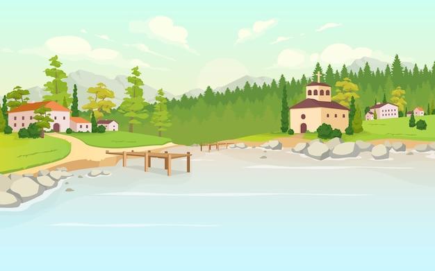 村の昼間の湖フラットカラーイラスト。田舎の家。トスカーナの風景。農家の近くの森。郊外エリア。背景に自然と田園地帯の2d漫画の風景
