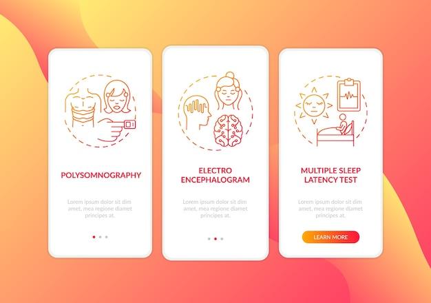 Дневной сон изучает красный градиент на экране страницы мобильного приложения с концепциями