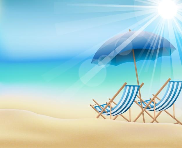 해변에서 주간 여름 배경