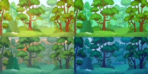 Дневной лесной пейзаж.