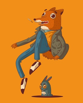 Dazed fox jumped out of his skin being afraid of malicious hare