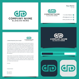Dd initial letter logo design and business card premium